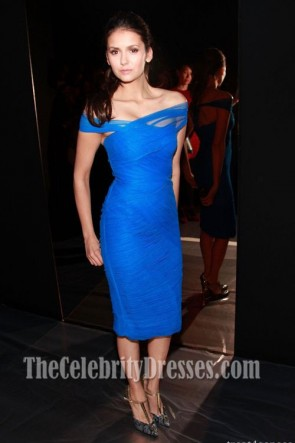Nina Dobrev Royal Blue Cocktail Party Dress Monique Lhuillier Show