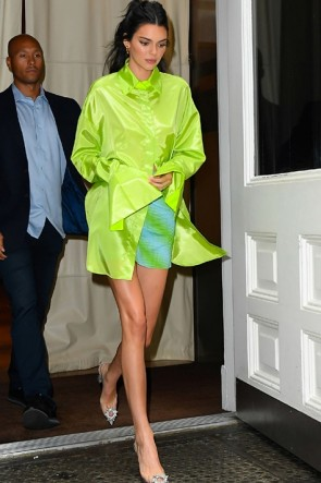 Kendall Jenner Fluorescent Green Shirt And Mini Skirt Set