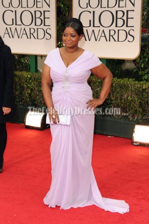 Octavia Spencer Lavender Cap Sleeve Plus Size Prom Dress 2012 Golden Globe Awards Red Carpet
