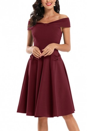 Off Shoulder Bow Bridesmaid Dress