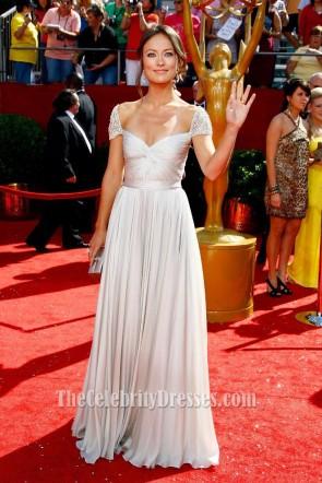 Olivia Wilde オリビアワイルドキャップスリーブウエディングイブニングドレス第60回プライムタイムエミー賞