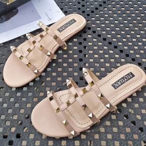 Open Toe Flat Heel Decor With Rivet Sliders