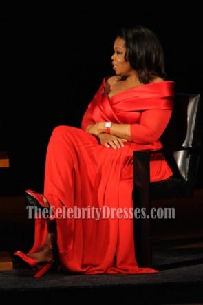 Oprah Winfrey オプラ・ウィンフリー プラスサイズの赤いフォーマルガウンリンカーンセンターがドレスをプレゼント