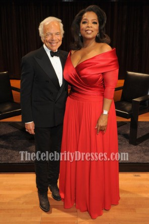 Oprah Winfrey Elegant Plus Size Red Formal Gown Lincoln Center Presents Dress