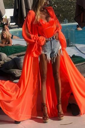 Fashion Orange Cardigan Chiffon Dress