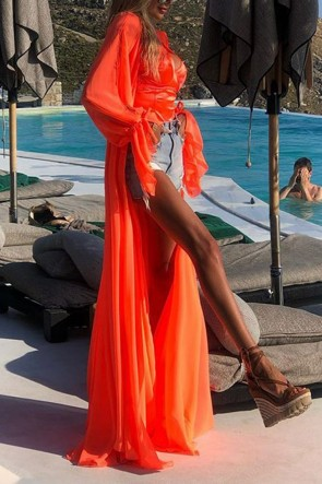 Fashion Orange Cardigan Chiffon Dress