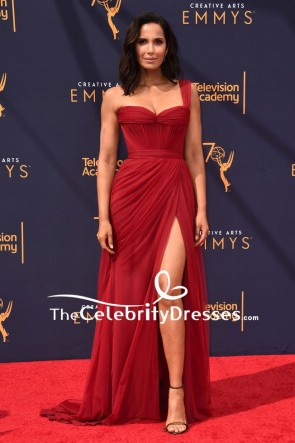 Padma Lakshmi Dark Red One-shoulder Thigh-high slit Evening Dress 2018 Creative Arts Emmy Awards