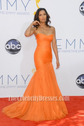 Padma Lakshmi Orange Formal Dress 2012 Emmy Awards Red Carpet