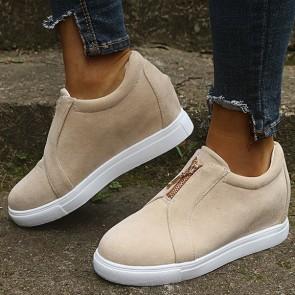 Patent Leather Zipper Decor Flat Sneakers