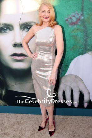 Patricia Clarkson Silver Sequin One-shoulder Cocktail Dress  Premiere Of Sharp Objects