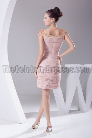 Pearl Pink Cap Sleeve Cocktail Party Bridesmaid Dresses