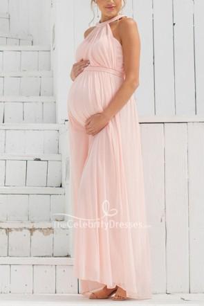 写真撮影のためのパールピンクホルターノースリーブマタニティドレス