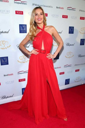 Petra Nemcova Red Halter Cut Out Gown Happy Hearts Fund 2017 Graduation Gala
