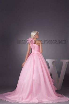 Pink One Shoulder Ball Gown Formal Evening Dresses