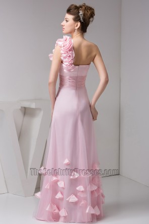 Pink One Shoulder Floor Length Prom Gown Evening Dresses