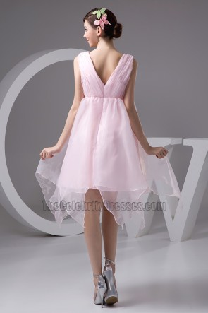 Pink Short A-Line Organza Party Homecoming Dresses