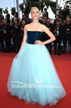 Pixie Lott Blue Strapless Two Tones Velvet Evening Dress 2019 Cannes Film Festival