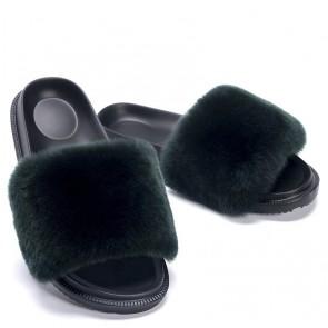 Plain Fluffy Open-toe Sliders