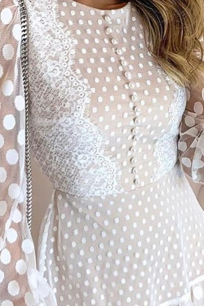 Polka Dot Panel Lace Dress