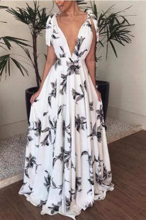 Deep V-Neck Shoulder Knot Backless Dress