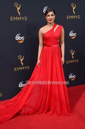 Priyanka Chopra Red One Shoulder Long Evening Prom Gown 2016 Emmy Awards 4