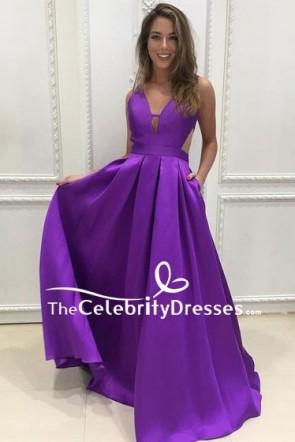 Purple V-neck Long Prom Dress