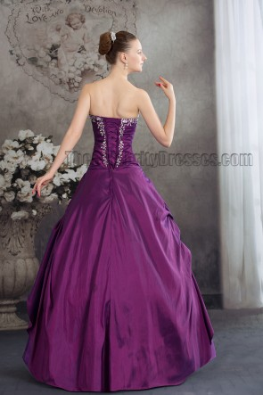 Purple Strapless A-Line Floor Length Formal Dress Evening Gown