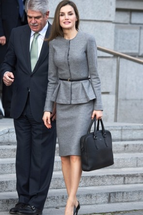 Queen Letizia of Spain Spanish Fashion Grey Suit