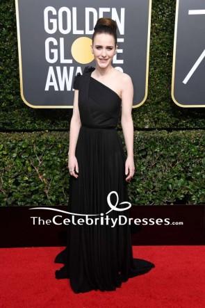 Rachel Brosnahan Black One-shoulder Flower Evening Dress 2018 Golden Globe Awards Red Carpet