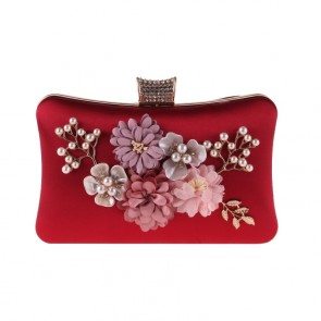 Red Handmade Flower Evening Fashion Clutch