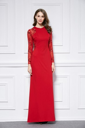 Red Floor Length Long Sleeve Evening Dress Prom Gown TCDBF440