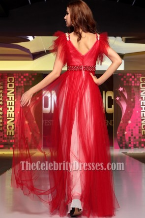 Chic Red Floor Length Tulle Formal Dress Evening Gowns