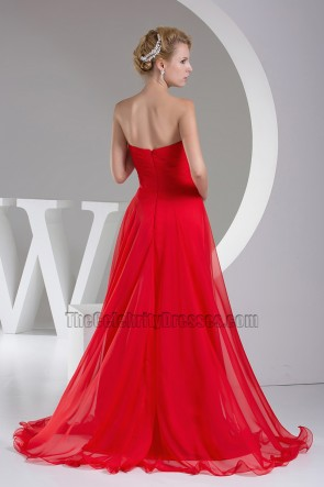 Red Strapless A-Line Prom Gown Formal Evening Dresses