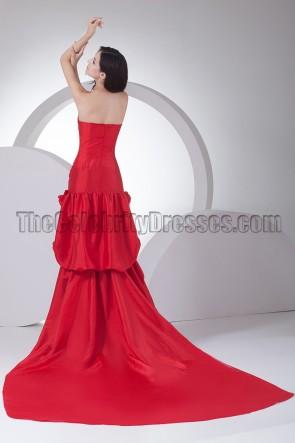 Elegant Red Strapless Formal Dress Evening Gowns