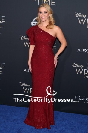 Reese Witherspoon Burgundy Sequins Sparkly One-shoulder Evening Dress Premiere Of A Wrinkle in Time