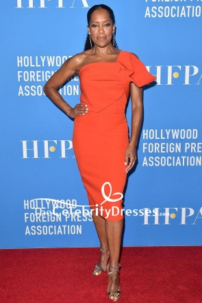 Regina King Strapless Cocktail Dress HFPA Grants Banquet