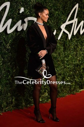 Rihanna Black Deep V-neck Blazer 2014 British Fashion Awards Red Carpet TCD8172