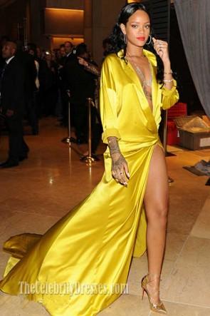 リアーナイエローセクシーで深いVネック長袖ハイスリットのイブニングドレスグラミー賞2014