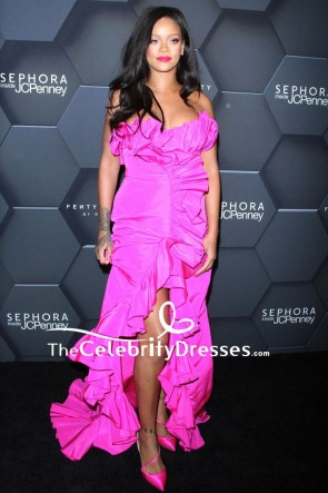 Rihanna Strapless Pink Ruffled High Slit Evening Dress Fenty Beauty's 1-Year Anniversary