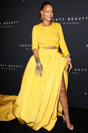 Rihanna Yellow Two Pieces Formal Dress Fenty Beauty TCD8869