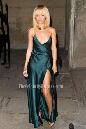 Rihanna Satin Deep V Evening Prom Gown Backless Sexy Celebrity Dress 1