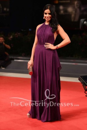 Rita Hayek Purple Backless Halter Evening Dress 2017 Venice Film Festival Premiere Of The Insult