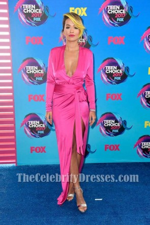 Rita Ora Hot Pink Deep V-neck Wrap Dress With Sleeves 2017 Teen Choice Awards