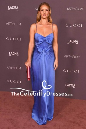 Rosie Huntington-Whiteley Blue Spaghetti Strap Backless Evening Dress 2017 LACMA Art + Film Gala Red Carpet