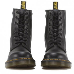 Round Toe Black Front Lace-up Combat Boots