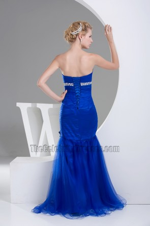 Royal Blue Tulle Mermaid Strapless Formal Dress Evening Gown