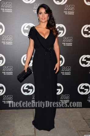 Salma Hayek Black Deep V-neck Evening Dress With Short Sleeves 2012 Award for Women in Cinema