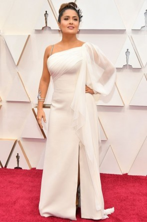 Salma Hayek White One-shoulder Formal Dress  2020 Oscars