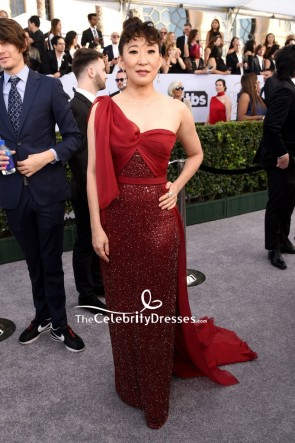 Sandra Oh Red One-shoulder Sparkly Evening Dress 2019 SAG Awards