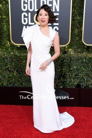 Sandra Oh White Column Evening Dress 2019 Golden Globes Red Carpet